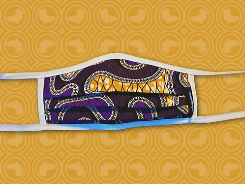 Child Face Mask with Filter   Purple   African Print Cloth
