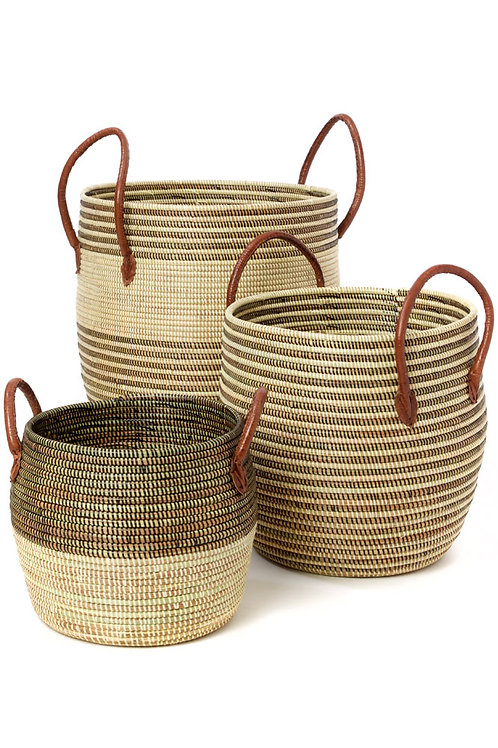 Set of 3 | Mixed Stripe Baskets | Leather Handles