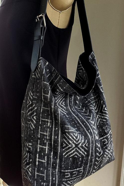 Black African Mudprint Hobo tote bag