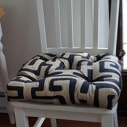 Set of 4 | Kuba Print Tufted Seat Cushions