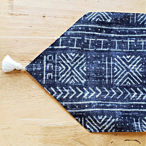 Mud cloth print table runner with tassel
