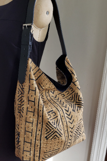 Beige and black African Mudprint Hobo tote bag