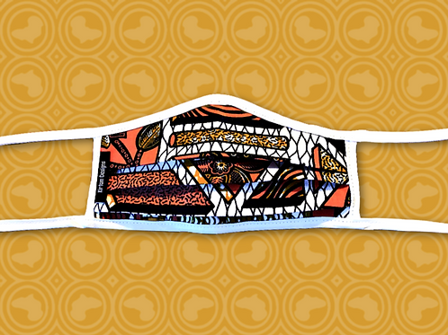 Child Face Mask with Filter    Orange & White Plant African Print Cloth