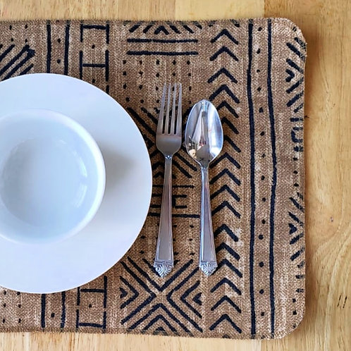 Set of 4 | Beige & Black Mudcloth Print Placemats