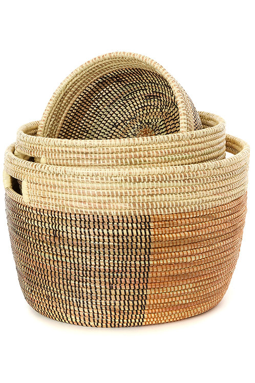 Set of Three Black, Gold & Cream Sewing Baskets