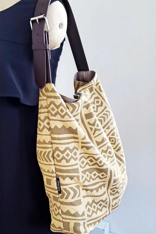 Gold Medal   Mudcloth Print Hobo Tote Bag