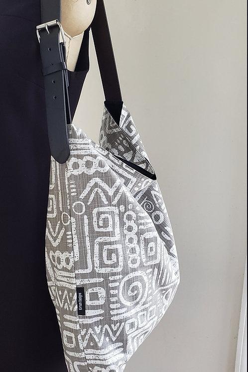 Gray & White Print Hobo tote bag