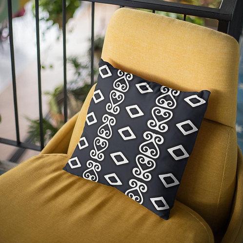 Sankofa Throw Pillow Print Mali BW | Spun Polyester Square Pillow