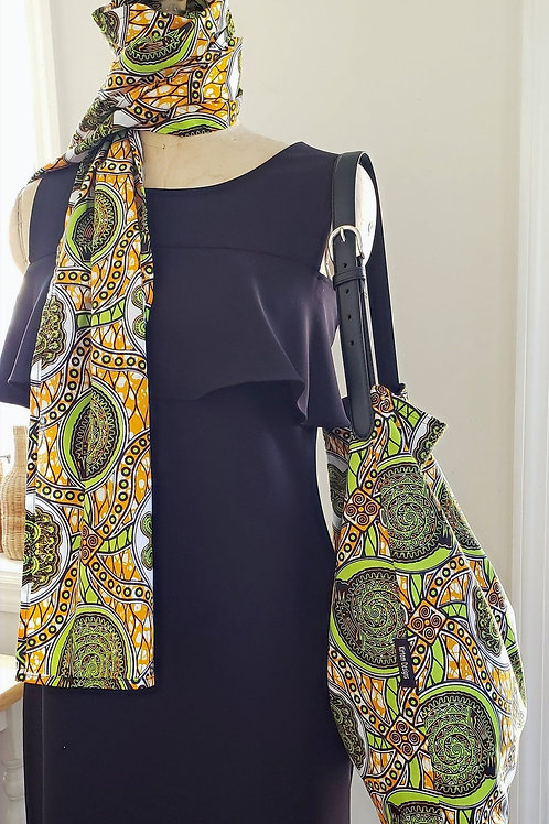 African Ankara Print Hobo Tote with Scarf Set