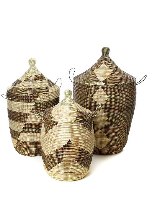 Set of Three Black and Beige Mixed Pattern Basket Hampers