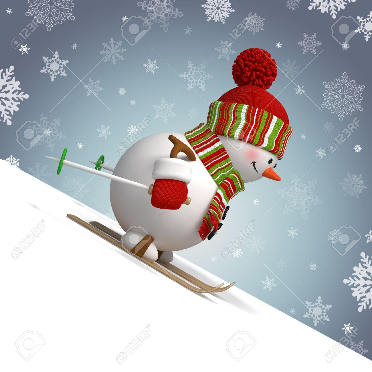Bonhomme de neige aimant skier