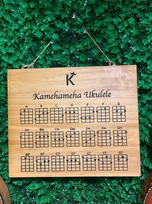 Kamehameha Ukulele chord chart solid wood pine wood