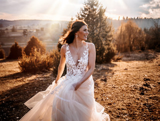 Bridalshooting in the sunset