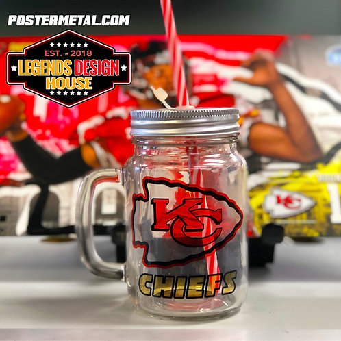 KC Chiefs 12oz mason jar with lid & straw (Your choice of clear or frosted)