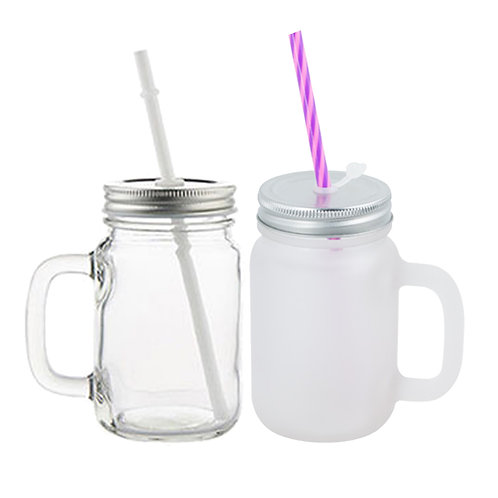12oz mason jar with lid & straw (Your choice of clear or frosted)