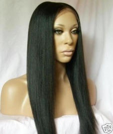 Long glossy relaxed hair