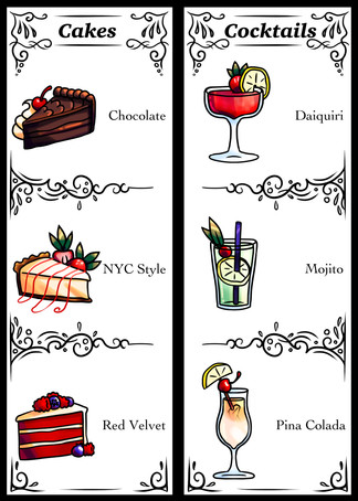 Cakes and Cocktails Menu