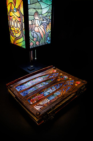 Outer Cover and Painted Stained Glass Lamp