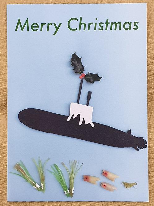 Christmas card - decorated submarine