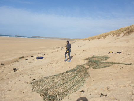Large net recovered from the beach near Hayle, Cornwall