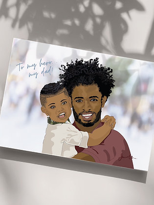 Father and Son Urban Greeting Card