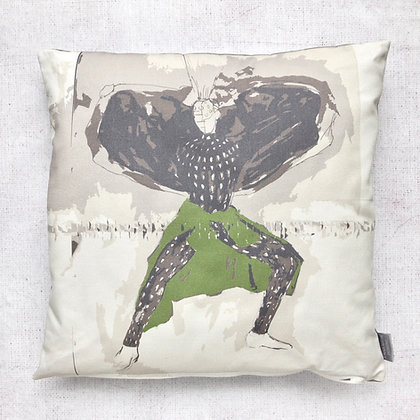 Green Urban Fashion Print Cushion Cover