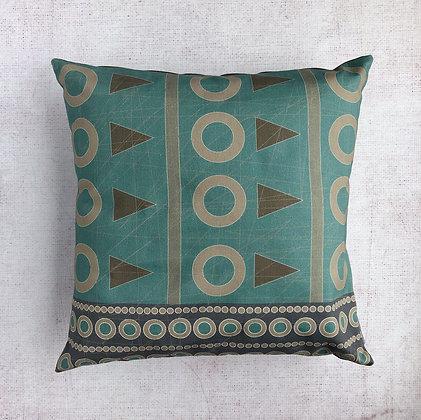 Cyan Blue Geometric Print Cushion