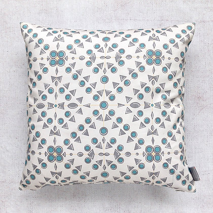 Grey and Turquoise Geometric Cushion Cover
