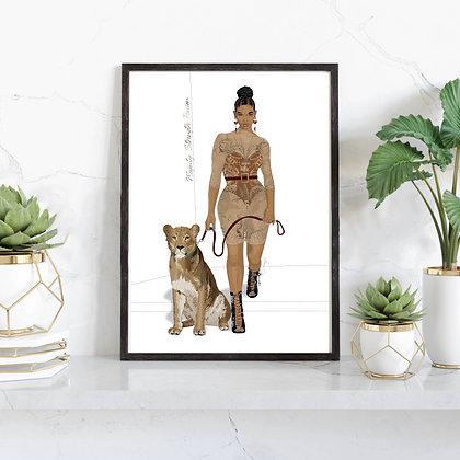 A4 Art Print, Golden Lioness