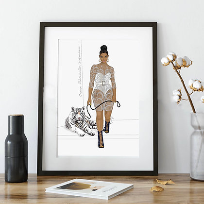 A4 Art Print, Silver Tigress