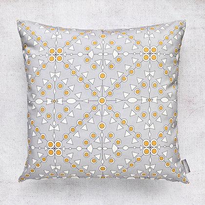 Grey and Sunflower Yellow Geometric Cushion Cover