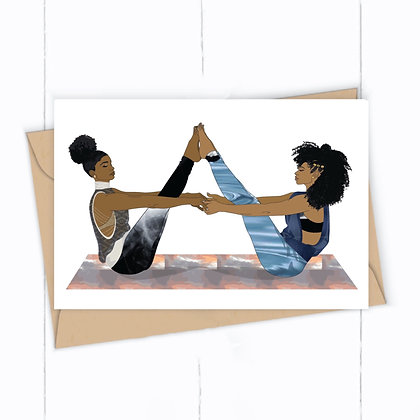Yoga Greeting Card, Boat Pose