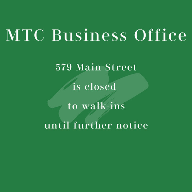 Business Office Closed to Walk-Ins till Further Notice