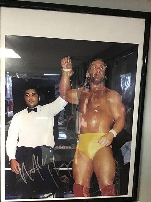 Hulk Hogan Autograph w/ Muhammad Ali Wrestlemania 1 16x20