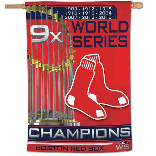 BOSTON RED SOX VERTICAL FLAG (9X CHAMPIONS)