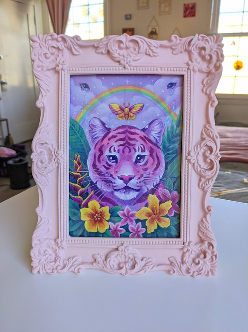 Framed Original Crying Rainbow Tiger Painting