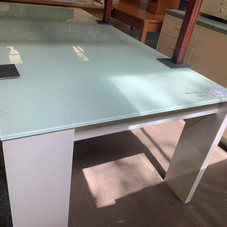 Modern Glass and White Dining table