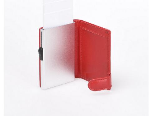 Kreditkartenetui mit Münzfach rot