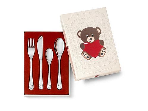 Kinderbesteck Bär mit Herz 4-teilig