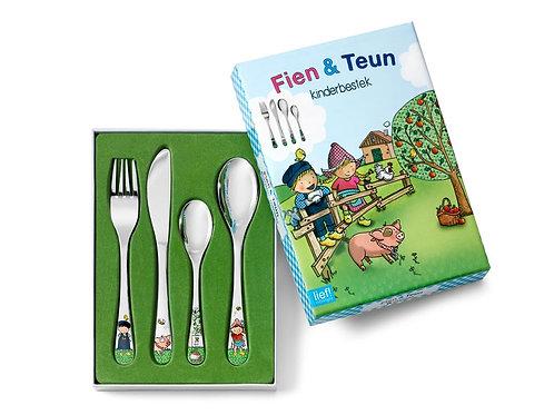Kinderbesteck mit Gravur Fien & Teun 4-teilig farbig