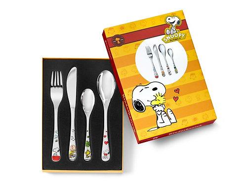 Kinderbesteck mit Gravur Snoopy 4-teilig farbig