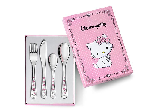 Kinderbesteck mit Gravur Charmmykitty 4-teilig farbig