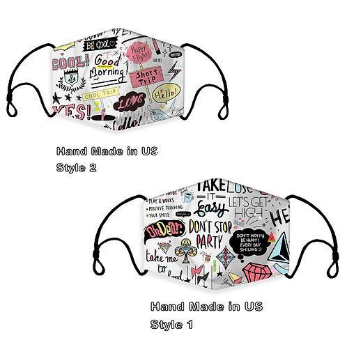 Ready to Ship Cloth Face Mask Graffiti Style Colorful Pattern,Fashion Adult & C