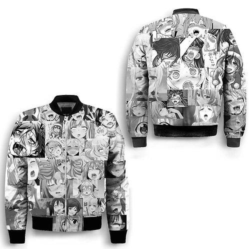 Hentai Ahegao Anime Girls Manga Style 100% Polyester Bomber Jacket