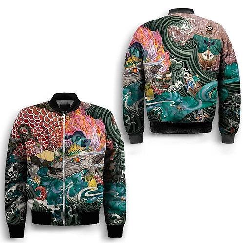 Art Dragon Design 100% Polyester Bomber Baseball Jacket
