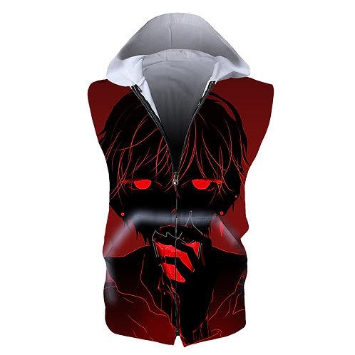 Death Note Anime hoodies Gym Fitness Sleeveless Zip Vest