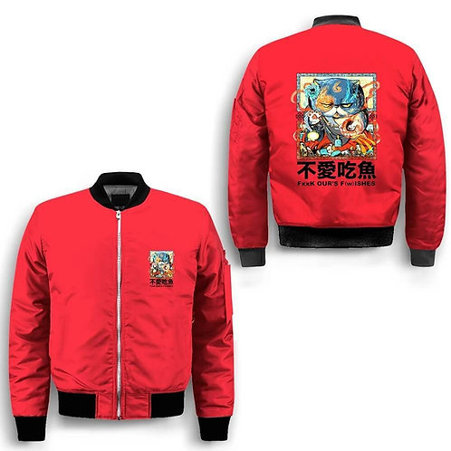No Fish Bomber Baseball Jacket Hip Hop Slim Fit Pilot Winter Men Jacket