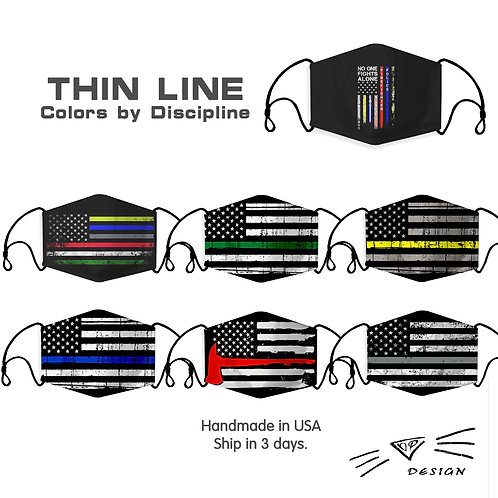 Thin Lines Colors American Flag Fashion Face Mask,Washable, Reusable