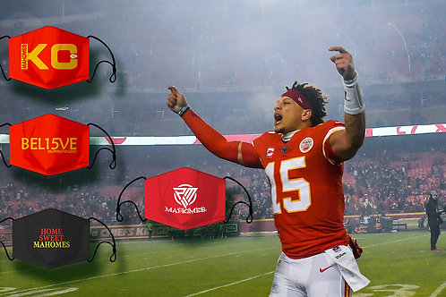 KC Mahomes, KC Chiefs, Fashion Face Mask,Washable, Reusable