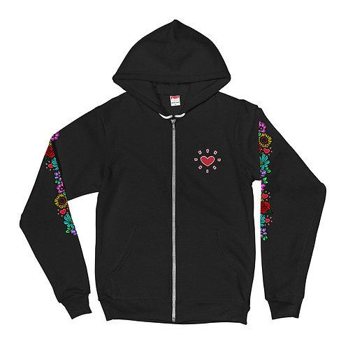 """""""Floral Sleeve"""" Zip-UP Hoodie"""